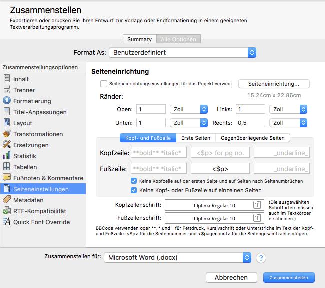 Scrivener Seiteneinstellungen